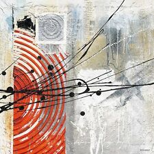 Tomaso: Rojo ILLUSION bastidor de cuña - Imagen 90x90 Lienzo Abstracto Moderno