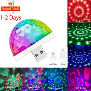 USB Mini RGB LED Disco Stage Light Party Phone Ball Lamp Club DJ KTV Decor UK