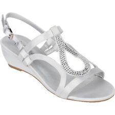Women's Silver Dress Shoes Low Heel Wedge Sandals Wedding Rhinestone Open Toe