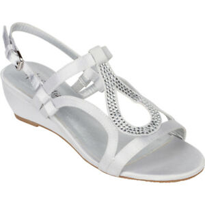 Silver Dress Shoes Low Heel Wedge Sandals Bridal Wedding Rhinestone Open Toe
