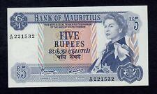 MAURITIUS  5 RUPEES ( 1967 )  PICK # 30c UNC.