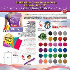 """SISER GLITTER HEAT TRANSFER VINYL, 6 SHEETS, 20"""" x 12"""", 6 COLORS STARTER BUNDLE"""