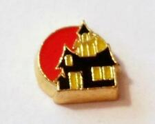 HAUNTED HOUSE   Halloween Gold Floating Charm for Living Memory Locket