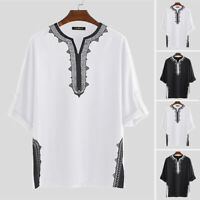 Men's African Dashiki Tops Half Sleeve Tribal Shirt Ethnic Style Blouse Clothing