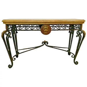 Vintage Maitland Smith Sofa Table Italian Style Lion Themed solid Iron legs
