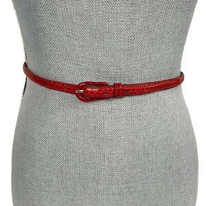 Designer S/M Red Genuine Authentic Snakeskin Skin Skinny Belt Buckle Closure