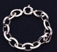 Puffed Oval Rolo Link Bracelet High Polished All Shiny Real 925 Sterling Silver
