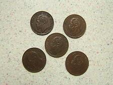 """1867 M ITALIA """"RARO"""" CINQUE (5) UN CENTESIMO di LIRA MONETE (alta qualità)"""