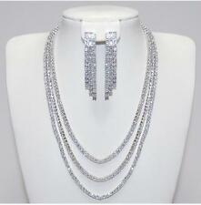 Radiant Triple Layered Strand 5A CZ Necklace & 3 Strand Earring Rhodium Set-16""