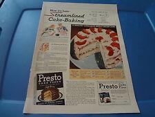 "1940 Presto Cake Flour Vintage Magazine Ad ""Now it's Here-streamlined Cake..."""