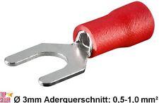 Kabelschuhe Gabel Ø 3mm M3 rot 0,5-1,0mm² Quetschkabelschuhe Gabelform NEU