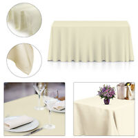 Plain Polyester Rectangle Tablecloth Solid Ivory Christmas Dining Table Cloth