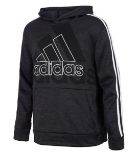 Adidas Big Boys Long Sleeve Logo Hoodie Hooded Pullover Sizes S, M, L, XL Black