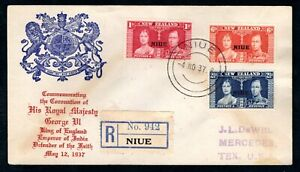 New Zealand Niue - 1937 KGVI Coronation Registered Illustrated First Day Cover