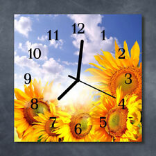 Glass Wall Clock Kitchen Clocks 30x30 cm silent Sunflowers Yellow