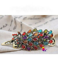 Chic Vintage Women Lovely Crystal Rhinestone Peacock Hair Barrette Clip Hairpin