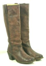 Frye Knee High 18-Inch Tall Brown Leather Flat Top Boots High Heels Women's 11 B