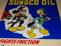 """VINTAGE SUNOCO OIL MICKEY MOUSE & DONALD DUCK WAR OUTFIT 12"""" METAL GASOLINE SIGN"""