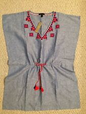 New JCREW Linen Embroidered Tunic F9053 Lapis Size XXS $89.50 CURRENT!