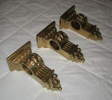 "Set of 3= Wall Corbel Rod/Scarf Holders Shelf 10 3/8"" H. Gold Lightweight Resin"