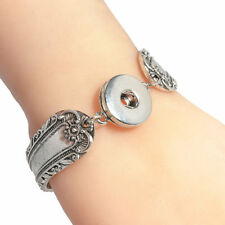 POPULAR WOMENS SILVER PLATED PATTERNED SNAP  BUTTON NOOSA STYLE BRACELET,SB675