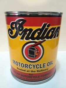 Vintage Indian Motorcycle Oil Can 1 qt - (Reproduction Tin Collectible)