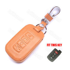 Leather Key Fob Case Cover Holder For Toyota Camry RAV4 Remote Key 4 Buttons
