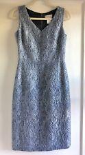 Barneys New York Blue Silver Metallic Work Career Sheath Dress Size 6 40 Italy