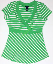 New Gap Women's Maternity Clothes Nursing Green Stripe Top NWOT Size XXS