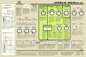 NEW SOUNDGAS ROLAND RE-301 CHORUS ECHO INSTRUCTIONS info sheet for tape delay