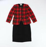 Vintage 90s Amanda Smith Womens 16 2 Piece Knit Plaid Button Blazer Skirt Suit