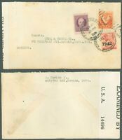 WWII 1942c HABANA - KNOX & MORSE CO., BOSTON MA USA Cover, CENSOR EXAMINER TAPE!