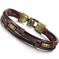 5X(Alloy Leather Bracelet Handcuff Braided Cord Rope Brown Male, Female Y1M4