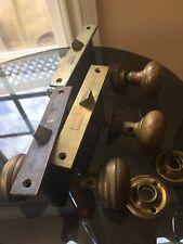 Antique Mortise Lock Key Brass Door Knob Face Plate Set Of 3