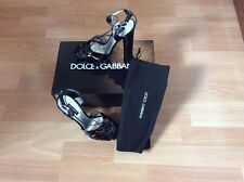 Dolce & Gabbana Black Patent Leather Sandals UK 4 / 37 -New In Box With Dustbag