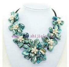 """Fashion AAA Handmade Freshwater Pearl Blue Sea Shell Flower Leather Necklace 18"""""""
