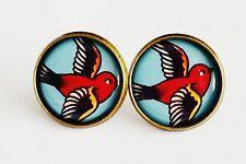 Swallow Earrings Antique Bronze Studs Jewellery Tattoo Rockabilly Kitsch bird BN