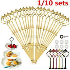 3 Tier Cake Stand Plate Fittings Cupcake Rack Handle Rod Wedding Party 10 Set