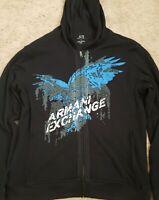 Vintage Men's ARMANI EXCHANGE A/X Full Zip Hoodie Jacket XLarge XL Black Rare