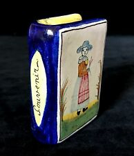 Antique French Faience CHAUFERRETTE, Rare Desvres Book shaped Hand Warmer c.1880