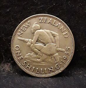 1935 New Zealand silver shillings, George V, smaller mintage year, KM-3