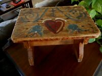 Folk Art Antique Painted Foot Stool Rustic Primitive Farmhouse Heart Hand Paint