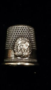 Antique Sterling Thimble Rare Yellowstone Park Bear Childs Size 8