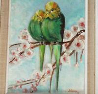 PERRUCHES sur un CERISIER Tableau huile Oiseaux 1972 Gauvry
