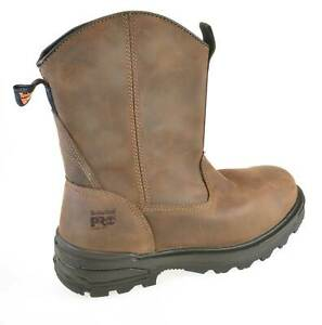 Original Timberland Pro Mortar Brown Leather Pull-On Steel Toe Safety Work Boots