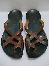 CYDWOQ Expose brown leather cutout detail strappy flat sandals size 36