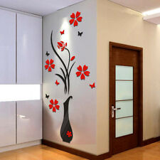 DIY 3D Vase Flower Tree Crystal Arcylic Wall Stickers Decal Vinyl Art Home Decor