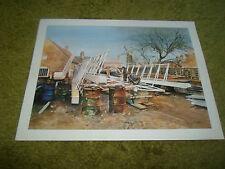 Delightful Boat Building Scene + Windmill Print by Edwin Straker Not Framed
