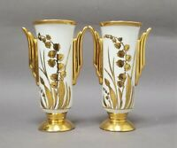 Pair Art Deco Stouffer China Hand Painted Gold Lily of The Valley Vases