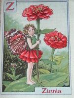 Flower Fairy Fairies Alphabet Panel Cotton Fabric 18x12.5cm Mixed Letters